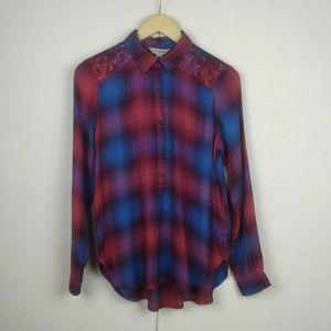 Lucky Brand l Plaid Button-down Cross Stitch Shirt